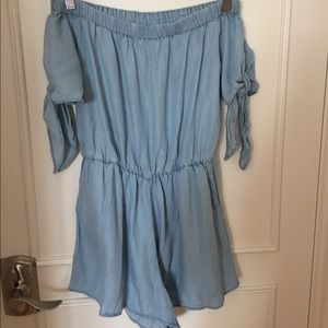 Blue denim-look off shoulder romper
